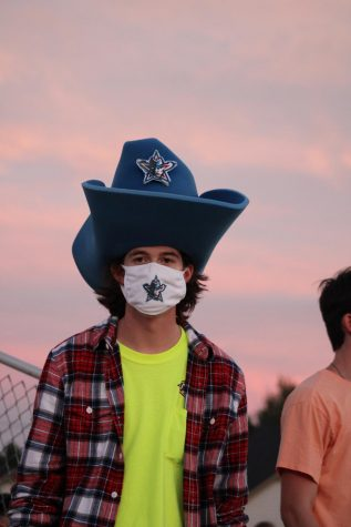 Mascot Braxton Waller in the student section during the football game vs. Greenwood.