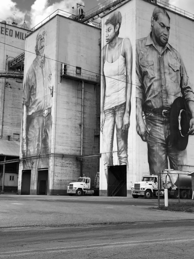 Portraits from the Unexpected art project adorn the feed mill at OK Foods on Wheeler Avenue.