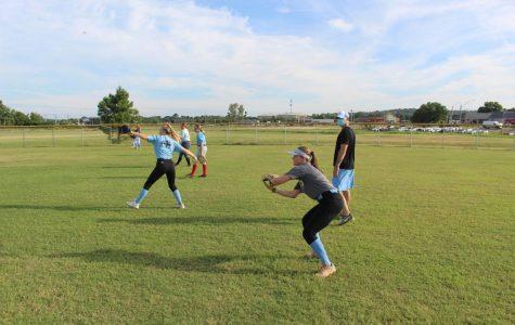 Softball team practices for the new season.