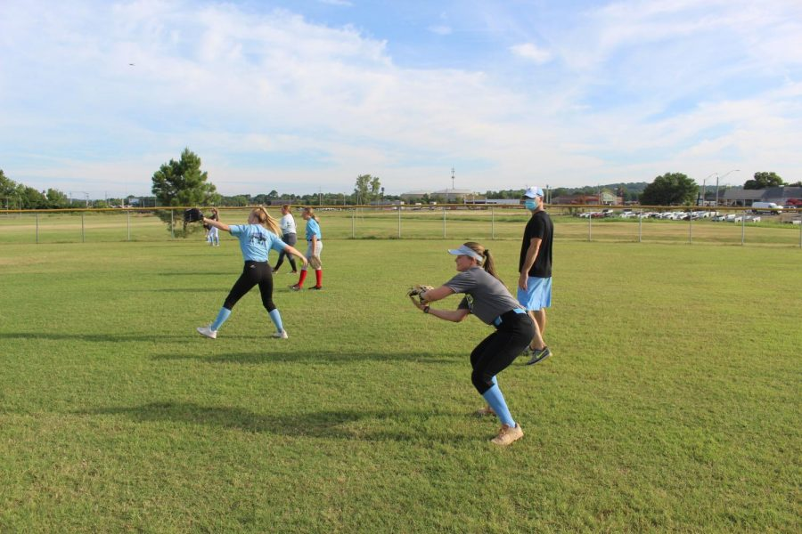 Softball team practices for the new season.