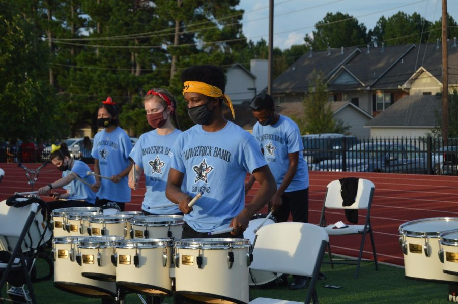 Percussionists prepare to play